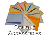 Oblique Labels and other Accessories designed to work with Oblique folders, including flags and software for printing labels. Parts include: LS6, LS11, GD, and AZPrint