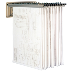 Pivoting wall mounted plan drawing racks blueprint for Architectural plan racks