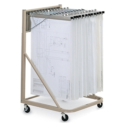 Mobile blueprint rolling stand vertical engineering for Architectural plan racks