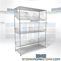 Quantum 2448BC6C Angled wire basket racks tilted positing shelves chrome supply shelving are better than plastic  sc 1 st  StoreMoreStore & Angled Wire Basket Racks Tilted Positioning Shelves Chrome Supply ...