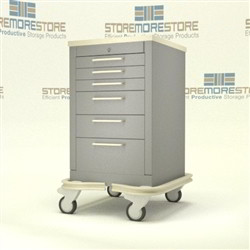 Rolling Six Drawer Healthcare Security Cart Storing