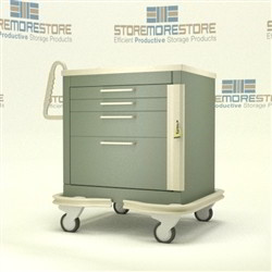 Aluminum Critical Care Cart Rolling 4 Drawer Cabinet On