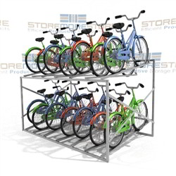 Large Metal Bike Rack Holds 14 Bicycles Stacking Two Tier