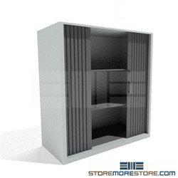 Counter High Locking Cabinet Sliding Tambour Doors