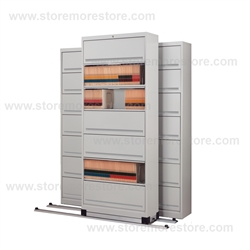 medical filing cabinets rolling 7 tier flipper door cabinets on tracks moving 23135