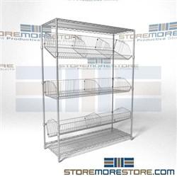 Angled Wire Basket Racks Tilted Positioning Shelves Chrome
