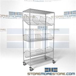 Mobile Wire Basket Shelving Cart Rolling Storage Racks