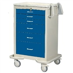 Wheeled 6 Drawer Hospital Cart Rolling Medical Supplies