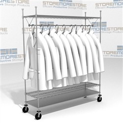 60 Quot Wire Shelving Carts With Clothes Hangers Uniforms Lab